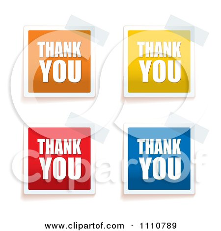 Clipart Colorful Thank You Tags Taped To A Surface - Royalty Free Vector Illustration by michaeltravers