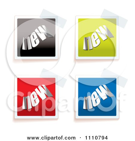 Clipart Colorful NEW Tags Taped To A Surface - Royalty Free Vector Illustration by michaeltravers