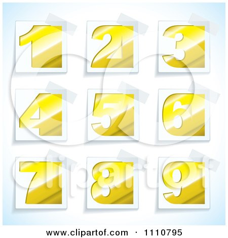 Clipart Yellow Number Tags With Taped Corners - Royalty Free Vector Illustration by michaeltravers