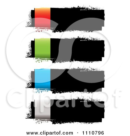 Clipart Grungy Black Ink Banners With Colorful Rectangles On The Left Side - Royalty Free Vector Illustration by michaeltravers