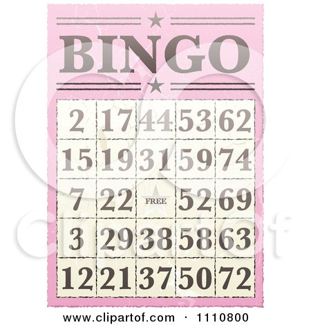 Clipart grungy pink bingo card royalty free vector for Bingo tattoo ideas