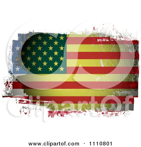 Clipart Grungy Painted American Flag - Royalty Free Vector Illustration by michaeltravers