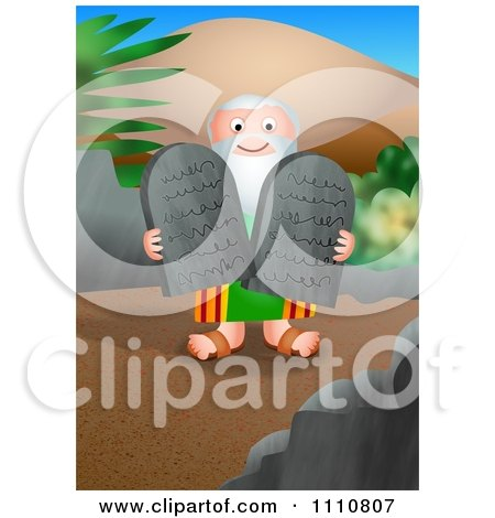 Clipart Moses Carrying The Ten Commandments Tablets - Royalty Free CGI Illustration by Prawny