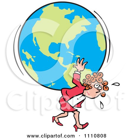 Clipart Burdened Businesswoman Carrying The Weight Of The World On Her Back - Royalty Free Vector Illustration by Johnny Sajem