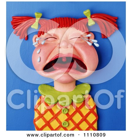 Clipart 3d Clay Red Haired Girl With Pig Tails Crying Her Eyes Out - Royalty Free Illustration by Amy Vangsgard