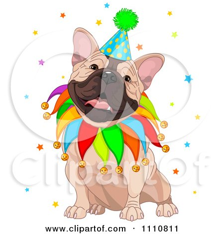 Clipart Cute Happy French Bulldog Wearing A Jester Collar And Party Hat - Royalty Free Vector Illustration by Pushkin