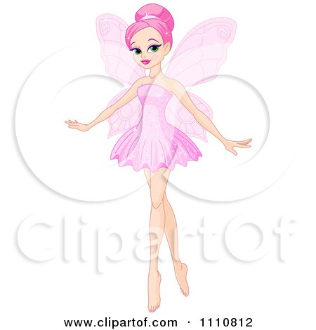 Clipart Beautiful Pink Haired Ballerina Fairy - Royalty Free Vector Illustration by Pushkin
