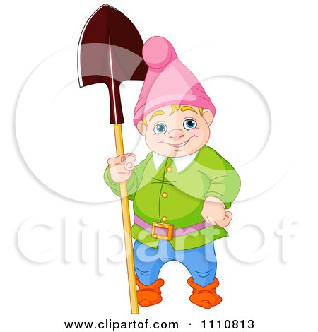 Clipart Happy Blond Garden Gnome Standing With A Shovel - Royalty Free Vector Illustration by Pushkin