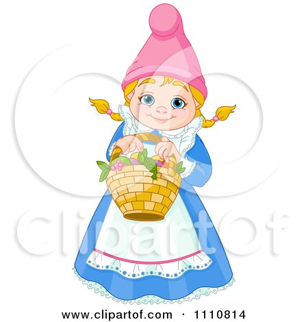 Clipart Happy Blond Garden Gnome Woman Holding A Basket - Royalty Free Vector Illustration by Pushkin