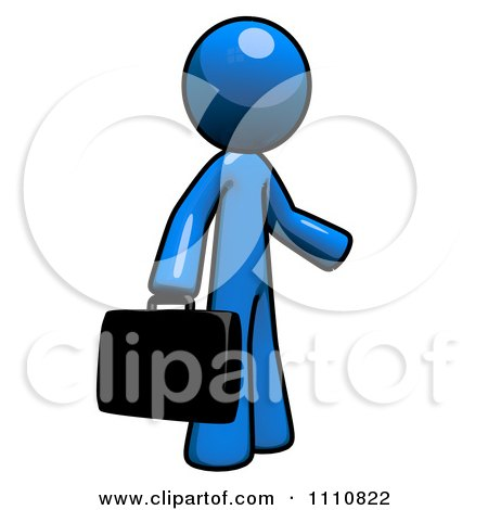 Clipart Job Seeker Blue Guy Carrying A Briefcase - Royalty Free CGI Illustration by Leo Blanchette
