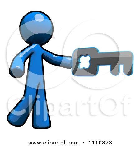 Clipart Login Blue Guy Using A Key - Royalty Free CGI Illustration by Leo Blanchette