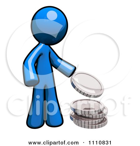Clipart Charitable Blue Guy Donating Change - Royalty Free CGI Illustration by Leo Blanchette