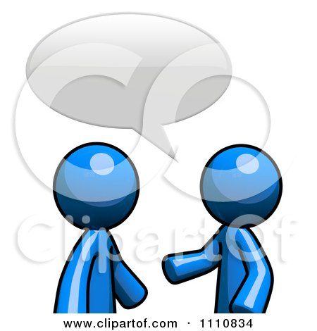 Clipart Blue Guys Talking In A Forum - Royalty Free CGI Illustration by Leo Blanchette