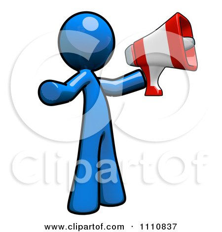 Clipart Advertising Blue Guy Using A Megaphone - Royalty Free CGI Illustration by Leo Blanchette