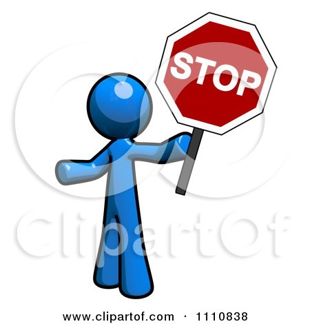 Clipart Stop Block Page Blue Guy Pointing - Royalty Free CGI Illustration by Leo Blanchette