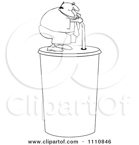 Clipart Outlined Chubby Man Drinking From A Straw On A Giant Fountain Soda - Royalty Free Vector Illustration by djart