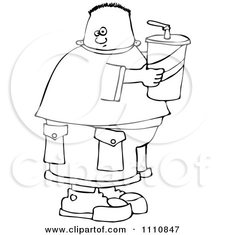 Clipart Outlined Chubby Boy Holding A Fountain Soda - Royalty Free Vector Illustration by djart