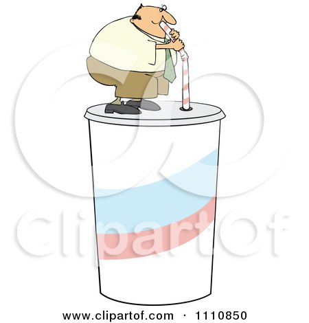 Clipart Chubby Man Drinking From A Straw On A Giant Fountain Soda - Royalty Free Vector Illustration by djart