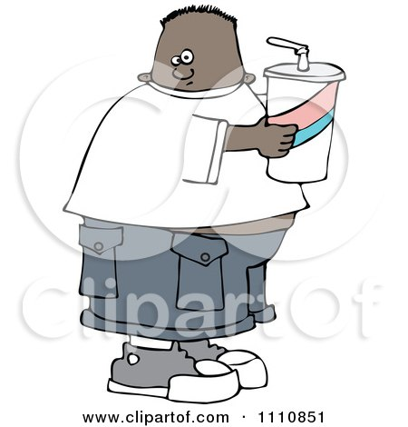 Clipart Chubby Black Boy Holding A Fountain Soda - Royalty Free Vector Illustration by djart