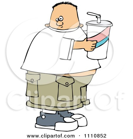 Clipart Chubby White Boy Holding A Fountain Soda - Royalty Free Vector Illustration by djart