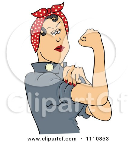 Clipart Rosie The Riveter Flexing Her Strong Muscles - Royalty Free Vector Illustration by djart