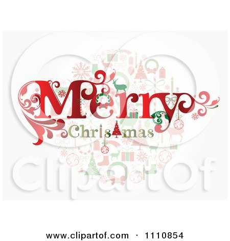 1110854 clipart merry christmas greeting over holiday items royalty