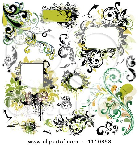 Clipart Green Grungy Design Elements Frames And Flourishes - Royalty Free Vector Illustration by OnFocusMedia