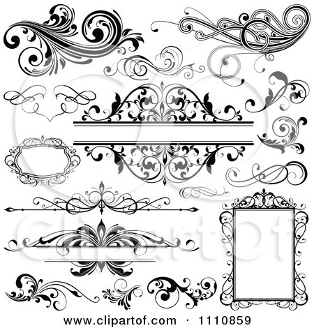 Clipart Black And White Design Elements Frames And Flourishes - Royalty Free Vector Illustration by OnFocusMedia