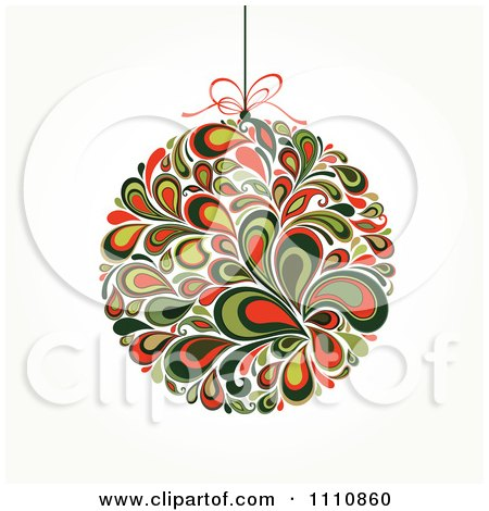 Clipart Floral Christmas Bauble Suspended From A String - Royalty Free Vector Illustration by OnFocusMedia