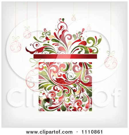Clipart Floral Christmas Gift Box With Suspended Ornaments - Royalty Free Vector Illustration by OnFocusMedia
