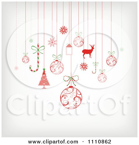 Clipart Suspended Christmas Ornaments - Royalty Free Vector Illustration by OnFocusMedia