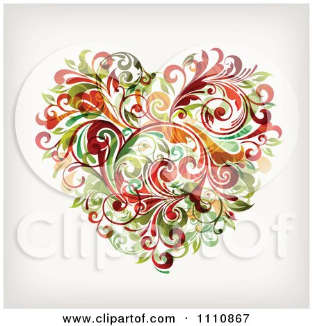 Clipart Floral Vine Heart - Royalty Free Vector Illustration by OnFocusMedia