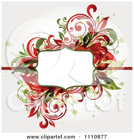 Clipart Red And Green Floral Frame With Grunge And Copyspace - Royalty Free Vector Illustration by OnFocusMedia