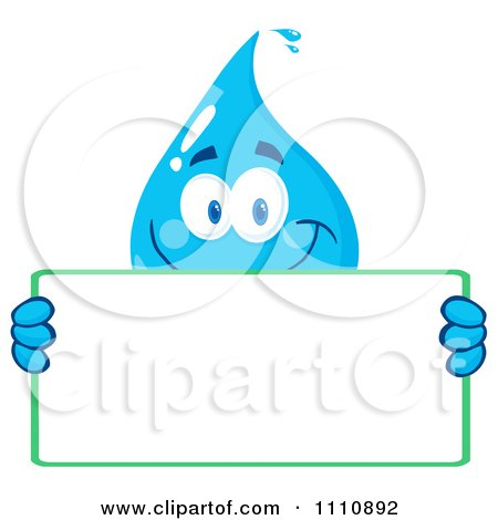 Clipart Water Drop Holding A Sign - Royalty Free Vector Illustration by Hit Toon