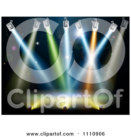 Clipart Colorful Spot Lights Shining Over A Stage - Royalty Free Vector Illustration by AtStockIllustration