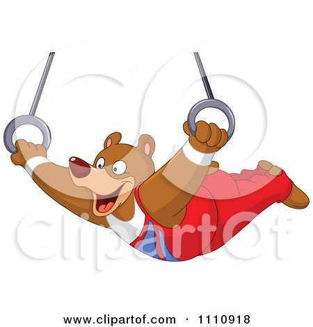 Clipart Athletic Gymnast Bear On The Flying Rings - Royalty Free Vector Illustration by yayayoyo