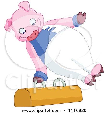 Clipart Athletic Gymnast Pig On The Pommel Horse - Royalty Free Vector Illustration by yayayoyo