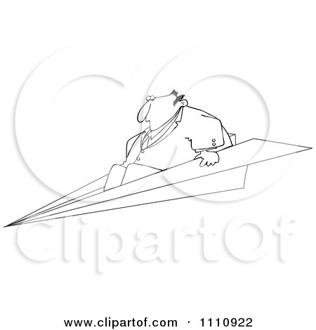 Clipart Outlined Businessman Flying On A Paper Plane - Royalty Free Vector Illustration by djart