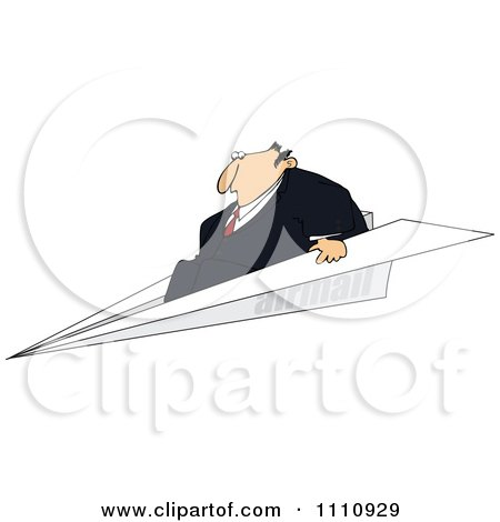 Clipart Businessman Flying On A Paper Plane - Royalty Free Vector Illustration by djart
