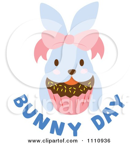 Clipart Blue Easter Bunny With A Bow Cupcake And Text - Royalty Free Vector Illustration by Cherie Reve