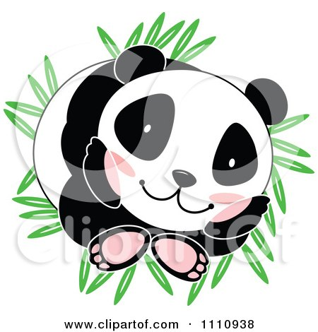 Clipart Cute Panda Curled Up On Bamboo Leaves - Royalty Free Vector Illustration by Cherie Reve