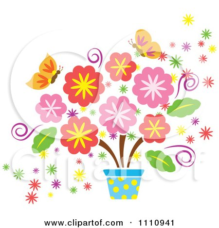 Clipart spring flowers in a pot and butterflies royalty free clipart spring flowers in a pot and butterflies royalty free vector illustration by cherie reve mightylinksfo