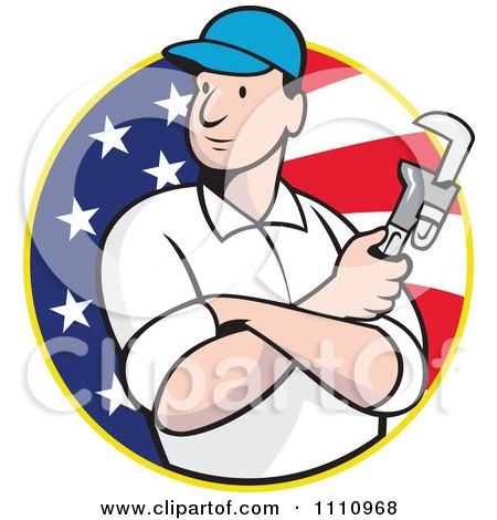 Clipart Retro Plumber Holding A Monkey Wrench Over An American Flag Circle - Royalty Free Vector Illustration by patrimonio