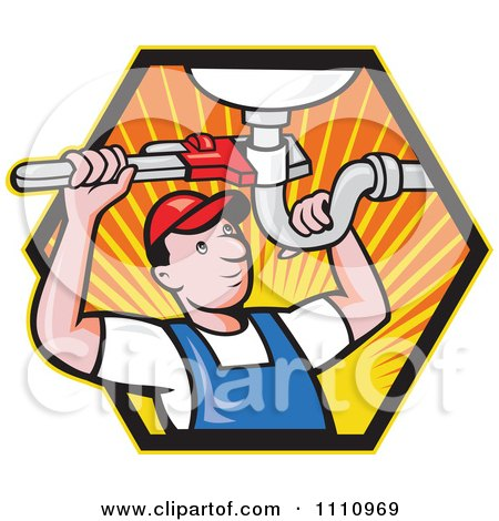 Clipart Retro Plumber Working On A Sink Pipe In A Hexagon Of Rays - Royalty Free Vector Illustration by patrimonio