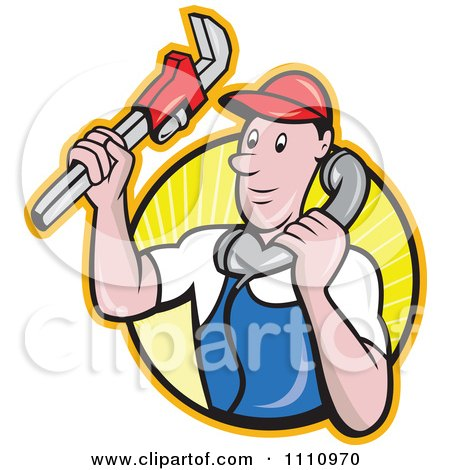Clipart Retro Plumber Holding A Monkey Wrench And Taking A Call Over A Circle Of Rays - Royalty Free Vector Illustration by patrimonio