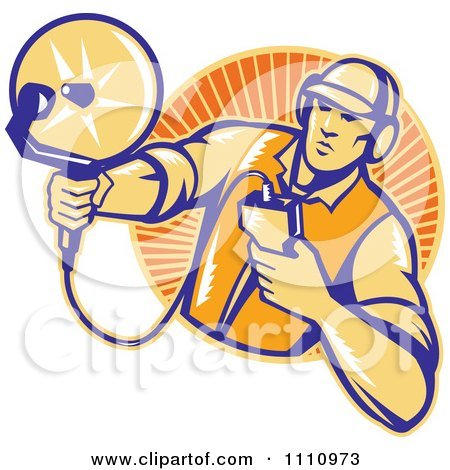 Clipart Retro Woodcut Engineer Holding An Ultrasound Sonar Satellite Dish Over A Circle Of Rays - Royalty Free Vector Illustration by patrimonio