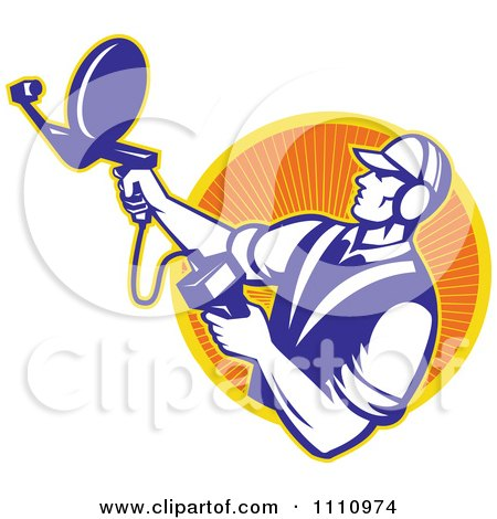 Clipart Retro Engineer Holding An Ultrasound Sonar Satellite Dish Over A Circle Of Rays - Royalty Free Vector Illustration by patrimonio