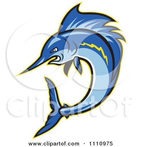 Clipart Aggressive Blue Sailfish Jumping - Royalty Free Vector Illustration by patrimonio