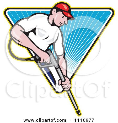 Clipart Retro Pressure Washer Worker Over A Blue Triangle Of Rays - Royalty Free Vector Illustration by patrimonio