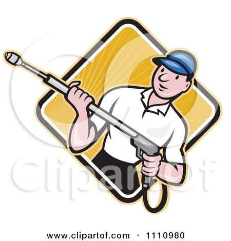 Clipart Retro Pressure Washer Worker Over A Diamond Of Rays 2 - Royalty Free Vector Illustration by patrimonio
